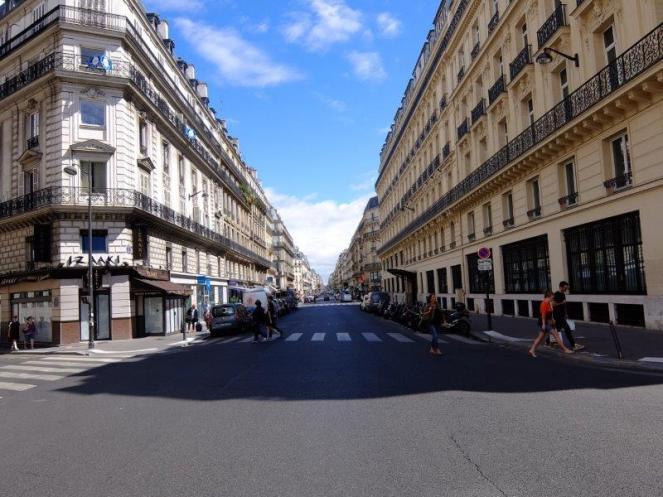 Parisian street blue sky