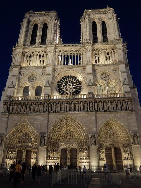 Notre Dame cathedral Paris at night