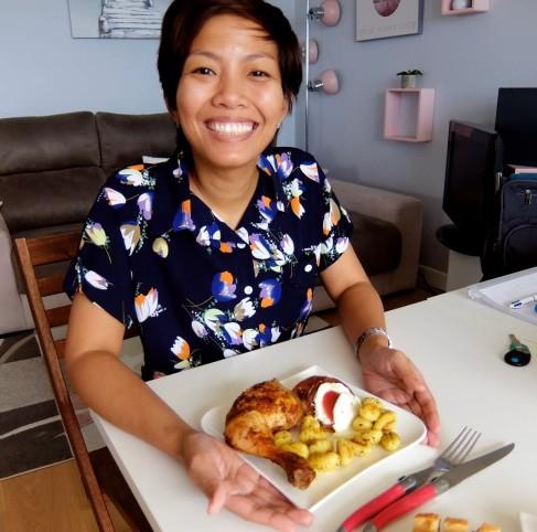 chicken mozarella gnocchi tomatoes and baguette