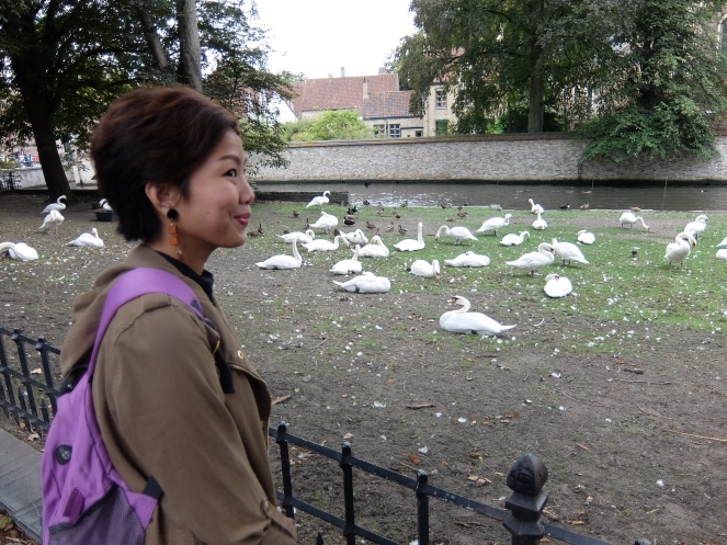Female tourist looking at Swans and ducks in Minnewater