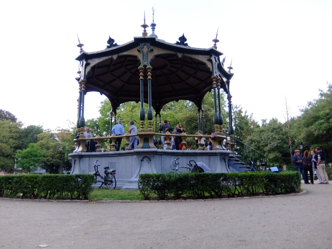 Gazebo with people dancing