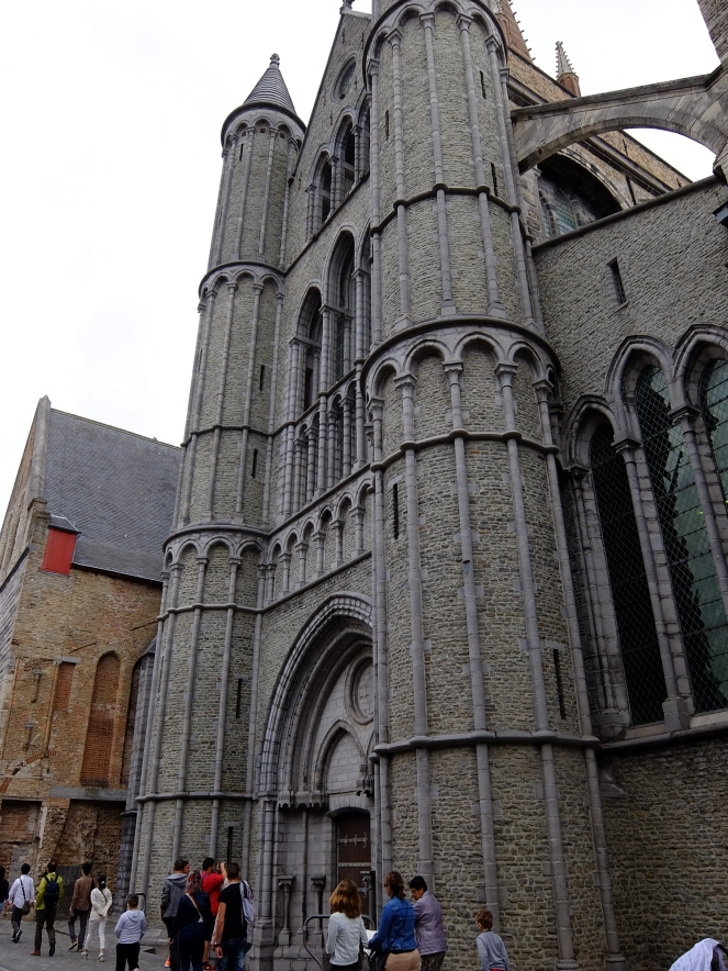 Facade of a church in Bruges
