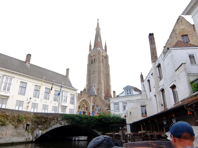 The Church of Our Lady, Bruges with tourists admiring it