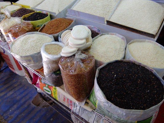 Different kinds of rice at market