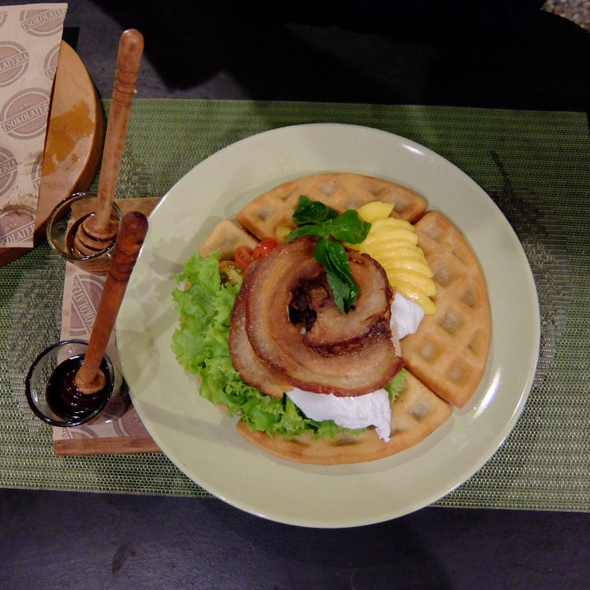 Waffle with bacon lettuce and tomato