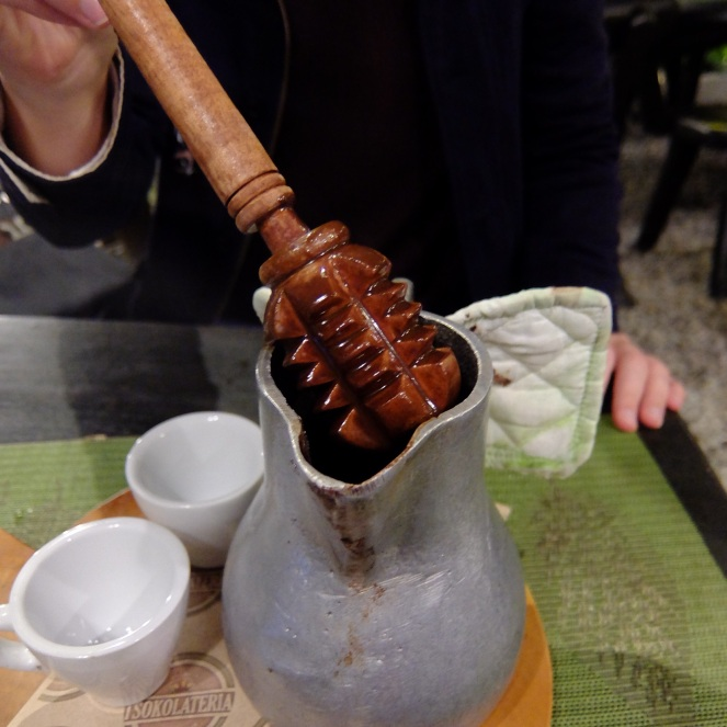 Wooden chocolate stirrer