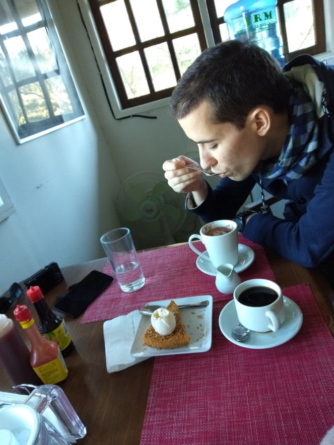 Guy drinking hot chocolate