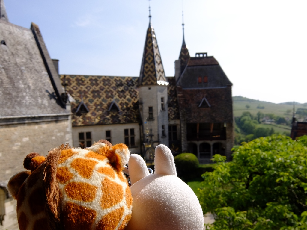 plushies in front of rochepot castle
