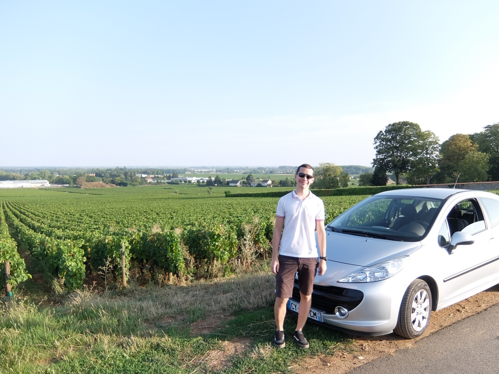 guy and car in front of grapevines