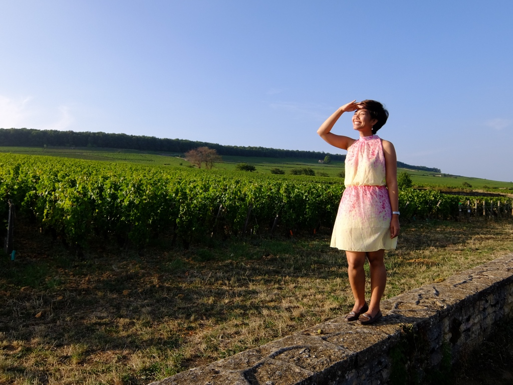 girl standing on wall in front of grapevines