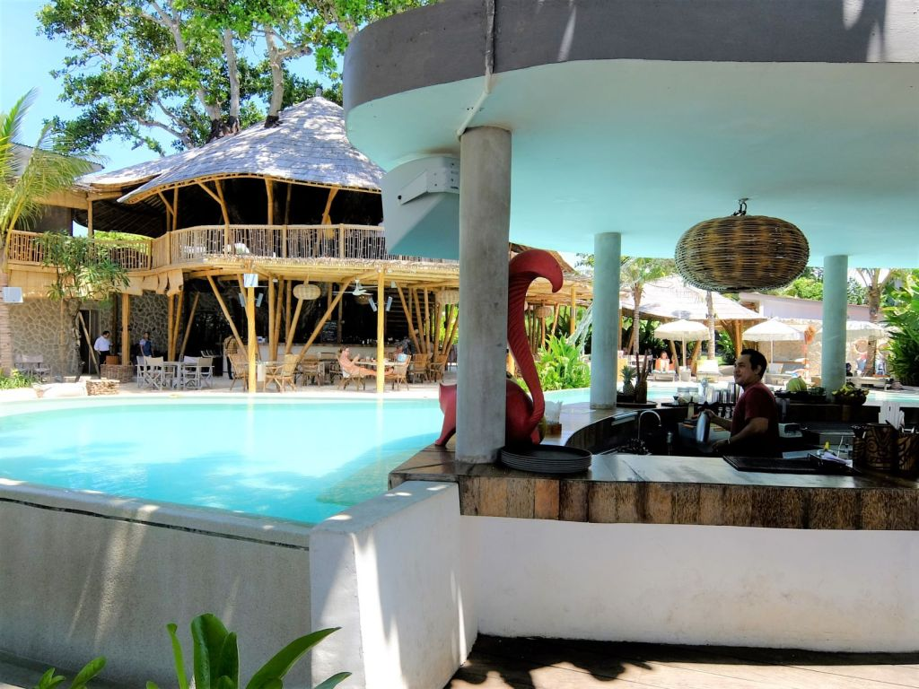 a bar by the pool