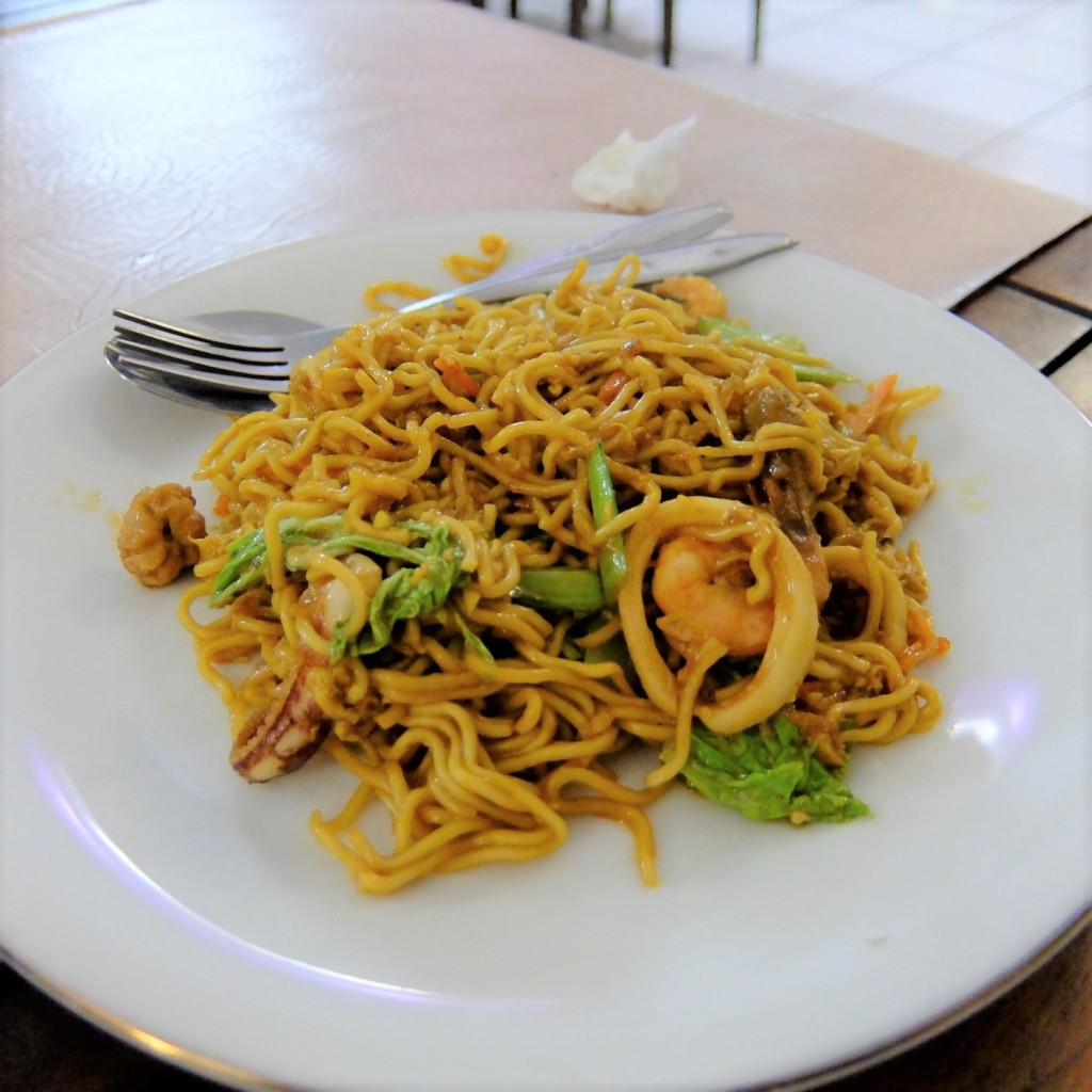plate of Indonesian fried seafood noodles