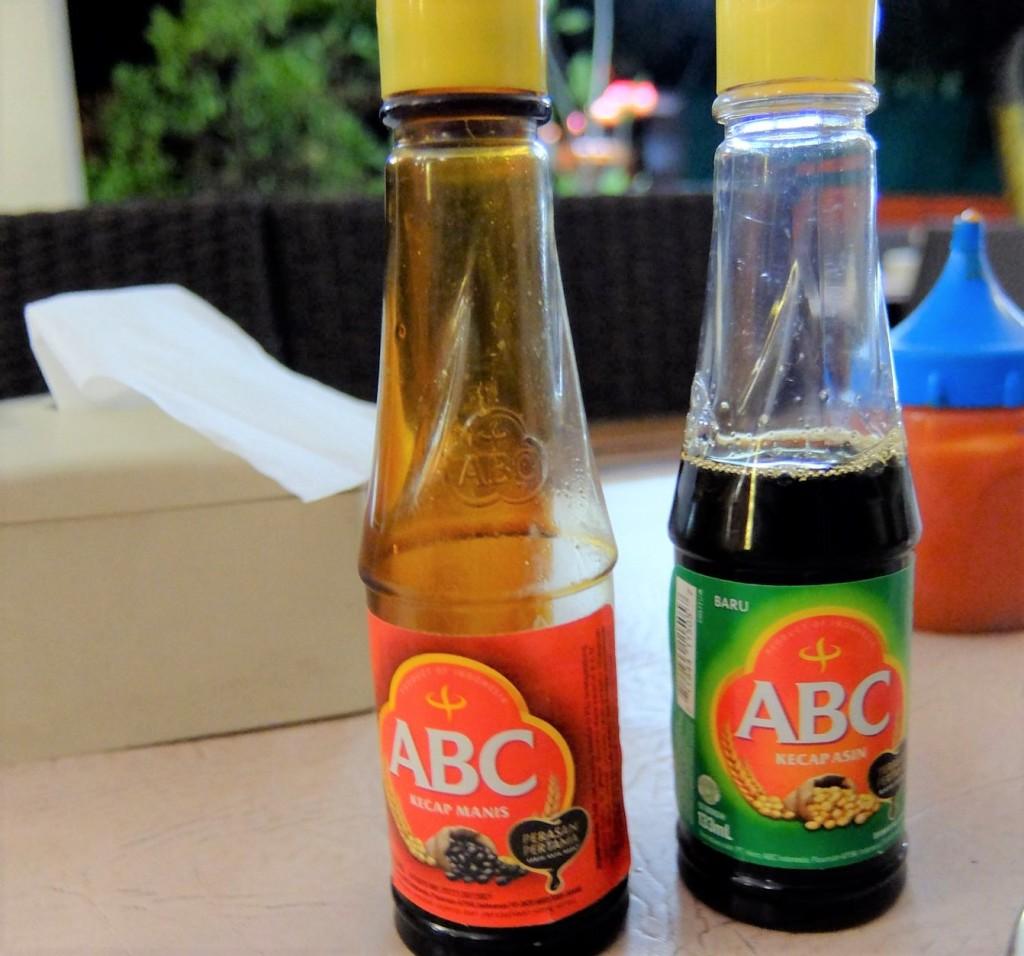bottles of kecap manis and kecap asin
