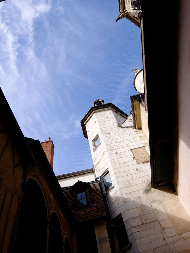 view of sky from an alley in Dijon