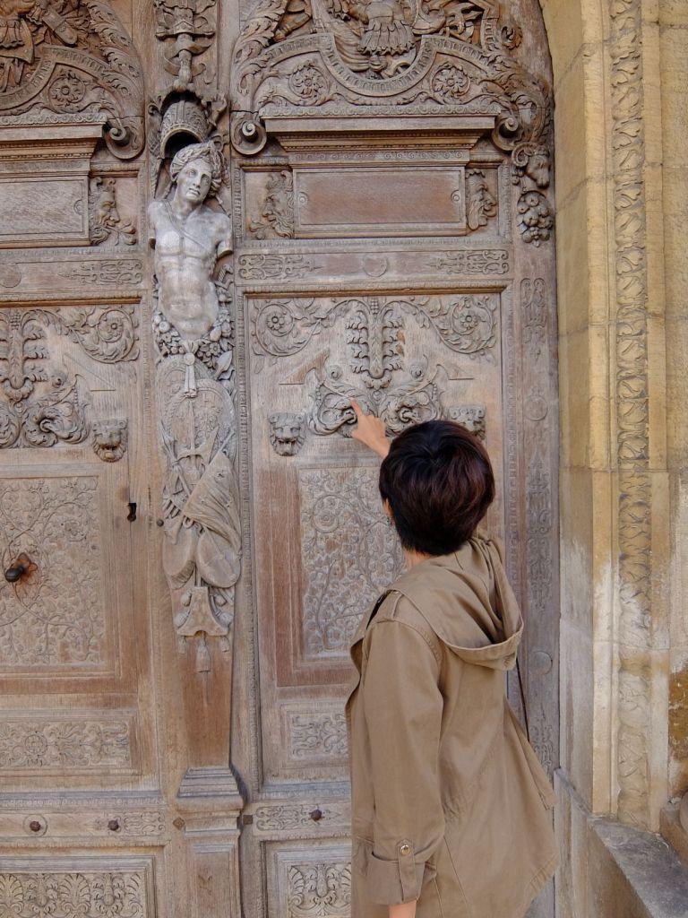 carved wooden door in Dijon