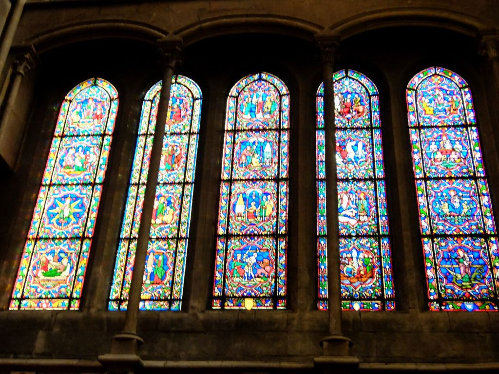 stained glass windows at Dijon cathedral