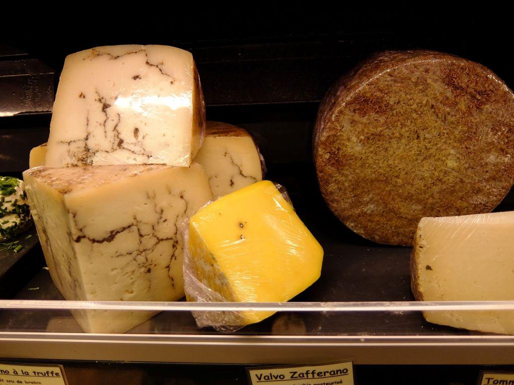 cheeses at a store