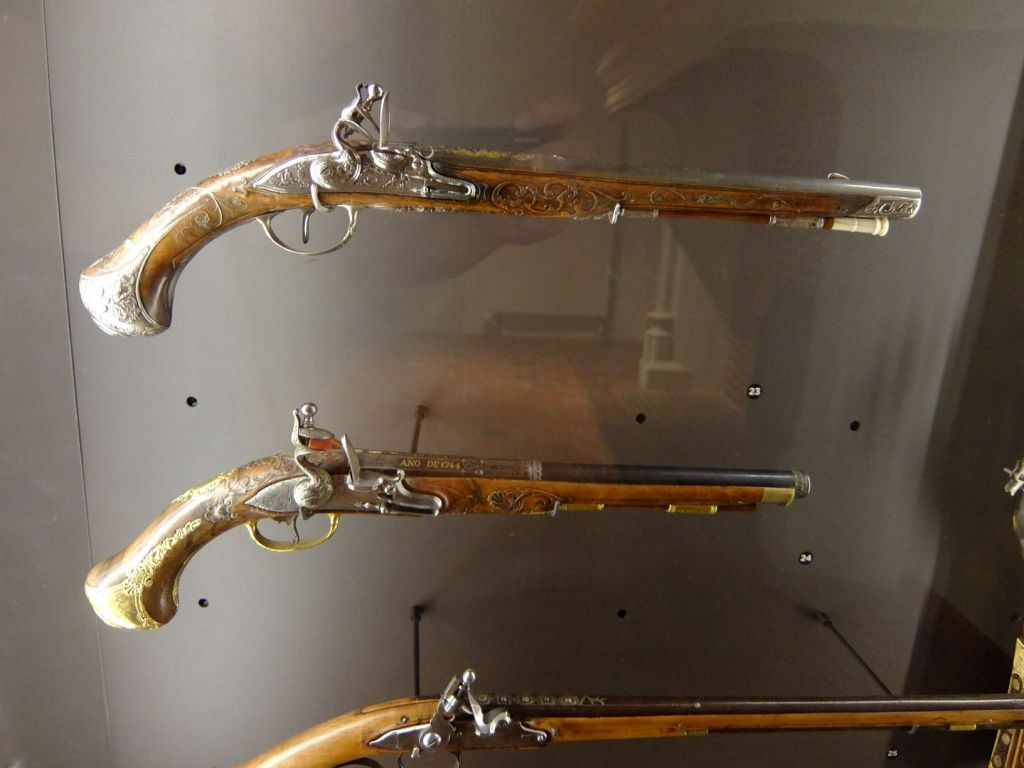 ancient rifles in a museum